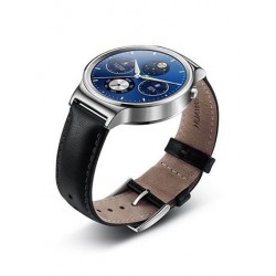 Huawei Watch W1 Stainless Steel/Black Leather Strap
