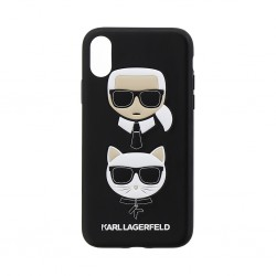 KLHCPXKICKC Karl Lagerfeld Karl and Choupette Hard Case Black pro iPhone X