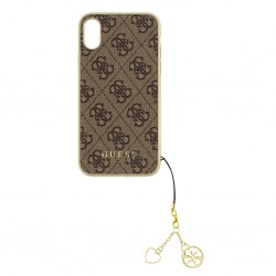 GUHCPXGF4GBR Guess Charms Hard Case 4G Brown pro iPhone X