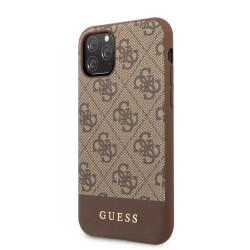 GUHCN61G4GLBR Guess 4G Stripe Zadní Kryt pro iPhone 11 Brown (EU Blister)