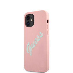 GUHCP12SLSVSPG Guess Silicone Vintage Green Script Zadní Kryt pro iPhone 12 mini 5.4 Pink